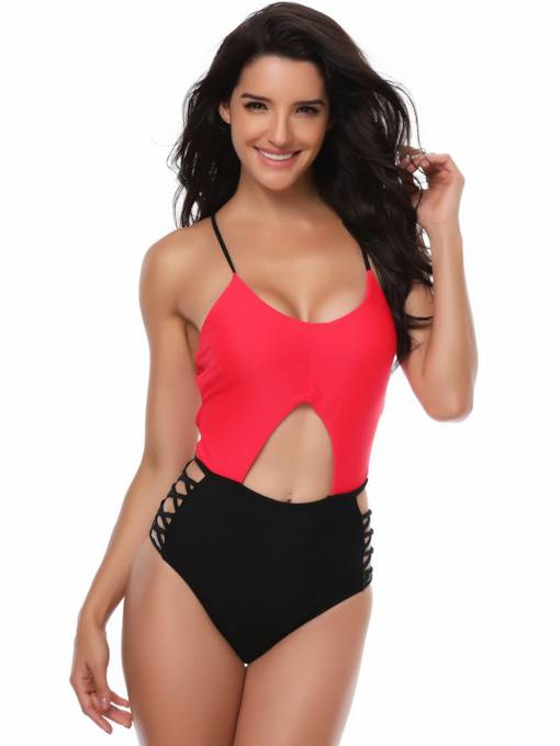 Color Block Hollow One Piece Swimwear Monokini