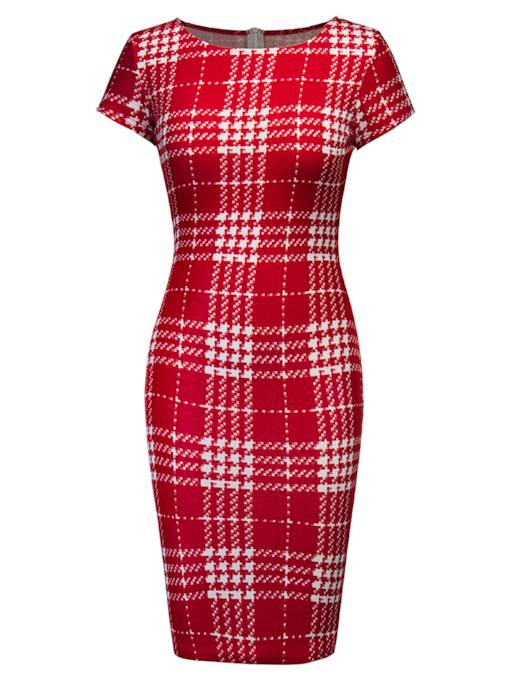 Short Sleeve Red Plaid Women's Sheath Dress