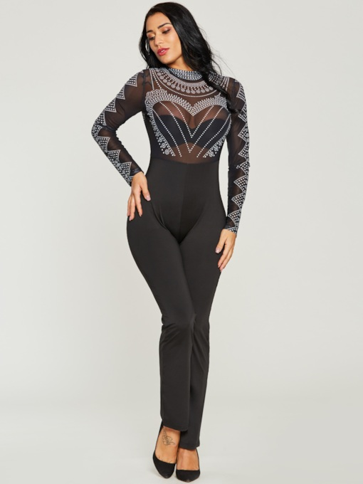 Turtle Neck Tight Black Perspective Women's Jumpsuit