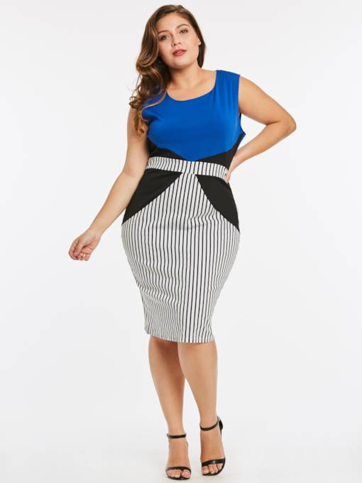 Striped Sleeveless Plus Size Women's Bodycon Dress