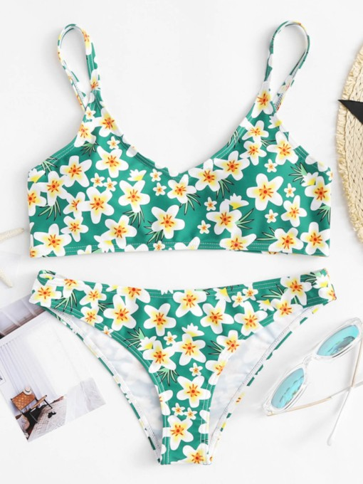 Flower Print Adjustable Strap Women's Bikini Set