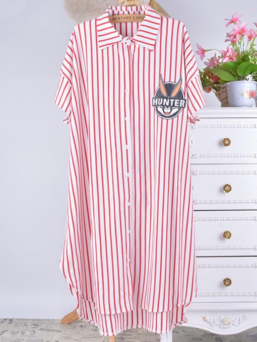 Loungewear Cotton Stripe Lapel Button Short Sleeve Mid-Calf Nightgown