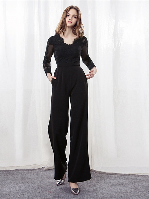 A-Line Long Sleeves Lace Evening Jumpsuits
