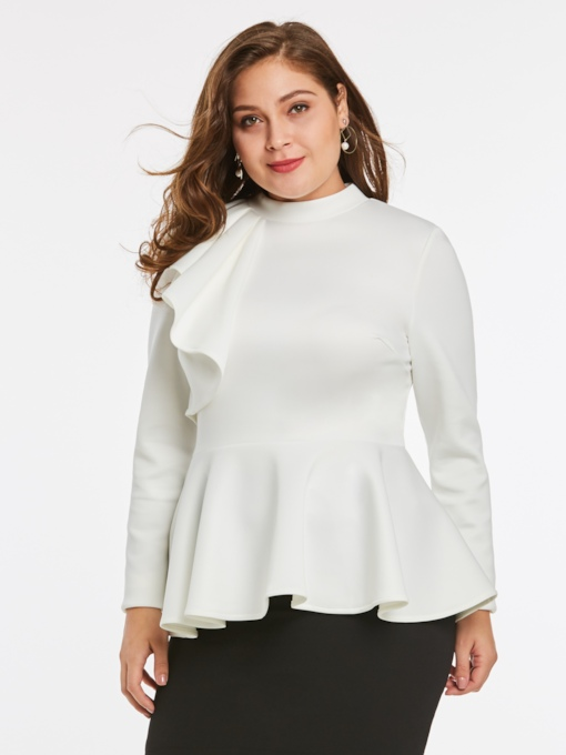 Plain Falbala Plus Size Women's Blouse