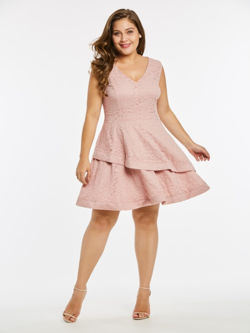 Plus Size Pink Falbala Women's Lace Dress