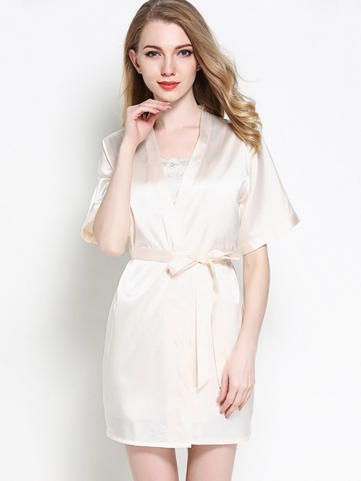 2 Pieces Spaghetti Strap Strapless Nightgown and Short Sleeve Robe