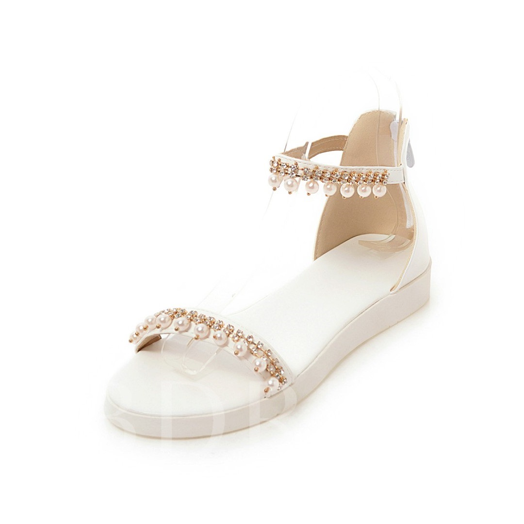 Zipper Rhinestone Shoes Beads Flat Sandals for Women