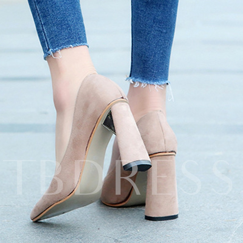 Chunky Heels Shoes Plain Suede Women's Casual Shoes