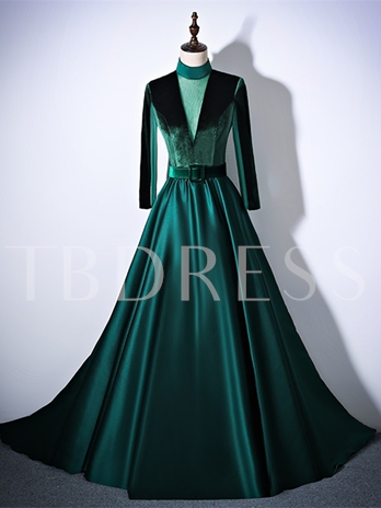 A-Line High Neck Sashes Court Train Evening Dress