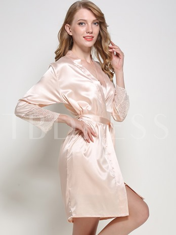 Lace Bowknot Nightgown and Nine Points Sleeve Robe