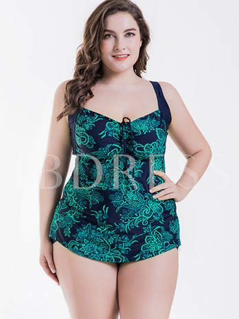 Bust Tie Floral Print Ruffle Plus Size One Piece Swimsuit