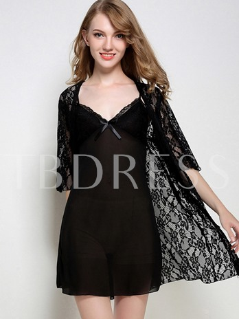 2 Pieces See-Through Plain Half Sleeve Nightgown and Robe
