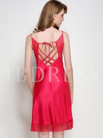 Lace Scoop Sexy Backless Lace-Up Women's Nightgown