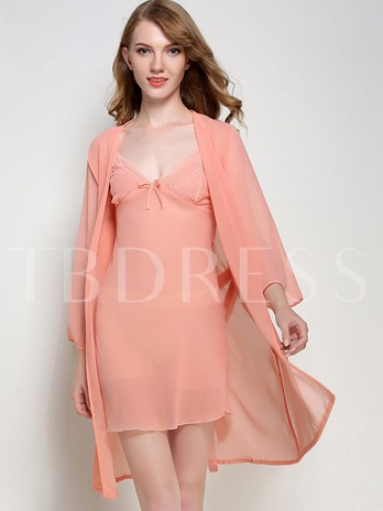 V-Neck Slim See-Through Nightgown and Nine Points Sleeve Robe