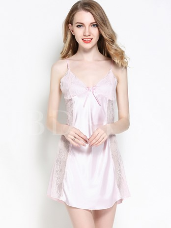 Bowknot Backless Sleeveless Summer Women's Nightgown