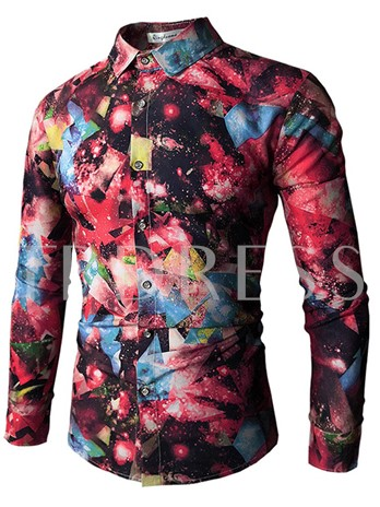 Lapel Color Print Slim Men's Shirt