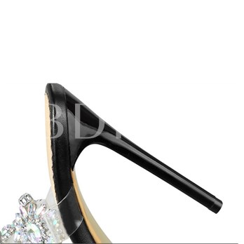 Rhinestone Clear Jelly Strappy Buckle Women's High Heel Sandals