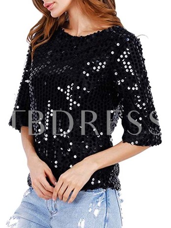 Sequins Chic Round Neck Women's Blouse
