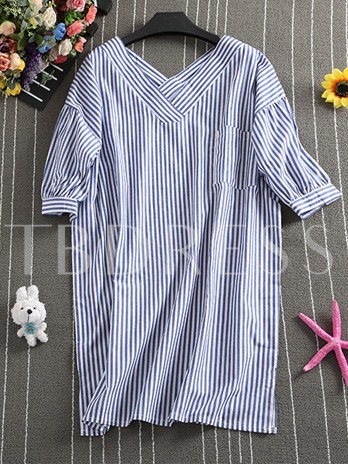 Vertical Stripe V-Neck Loose Lantern Sleeve Women's Nightgown