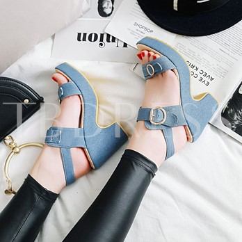 Chunky Heel Canvas Shoes Buckle Platform Sandals for Women
