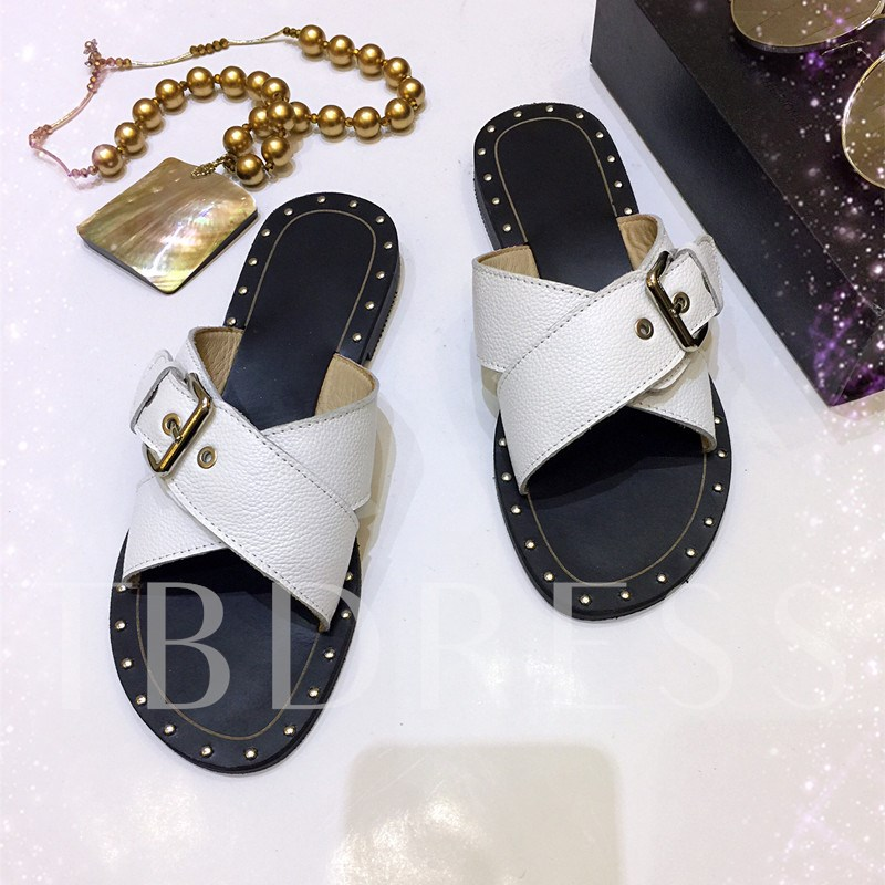 Rivet Buckle Block Heel Men's Casual Slippers