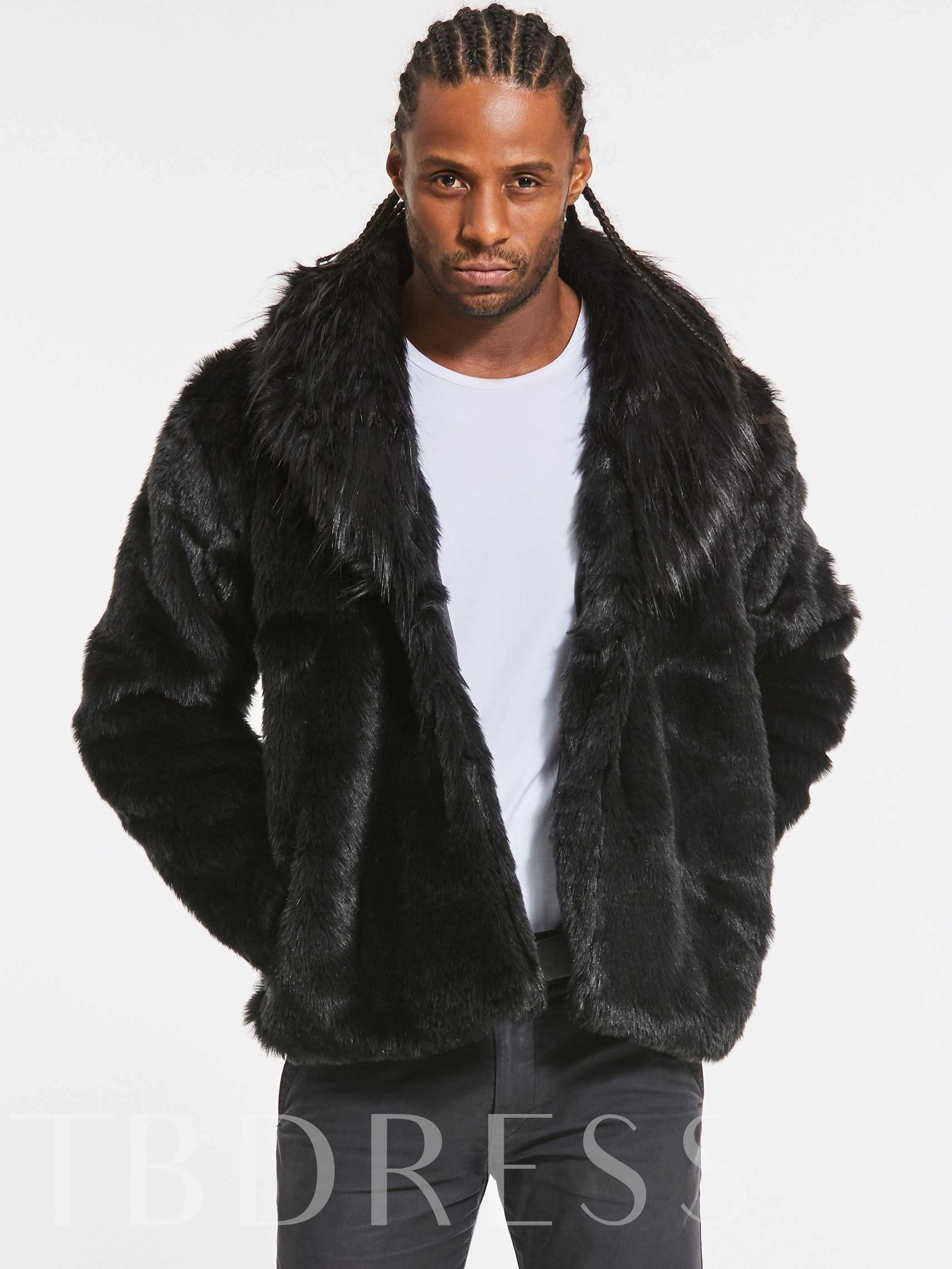 Buy Faux Fur Thicken Warm Solid Color Men's Winter Coat, Fall,Winter, 13026318 for $38.99 in TBDress store