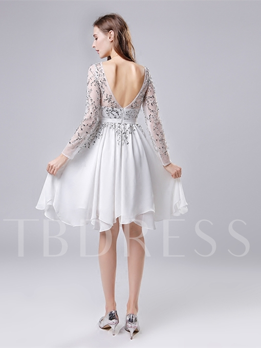 A-Line Bateau Beading Cocktail Dress