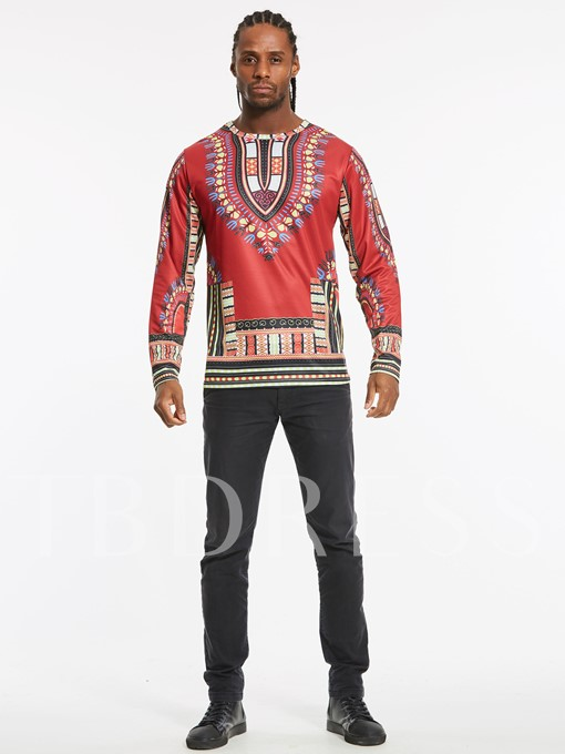 Dashiki Ethnic Print Slim Men's Long Sleeve T-Shirt