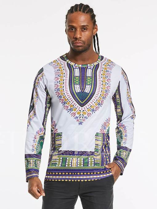 Dashiki Dress Round Collar Totem Ethnic Printed Slim Fit Casual Men's Long Sleeve T-Shirt