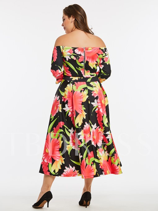 Boat Neck Plus Size Printing Women's Day Dress