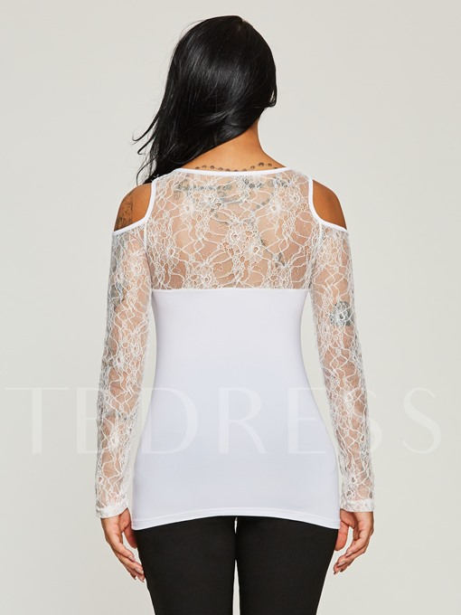 Lace Patchwork Hollow Mixed Print Women's T-Shirt