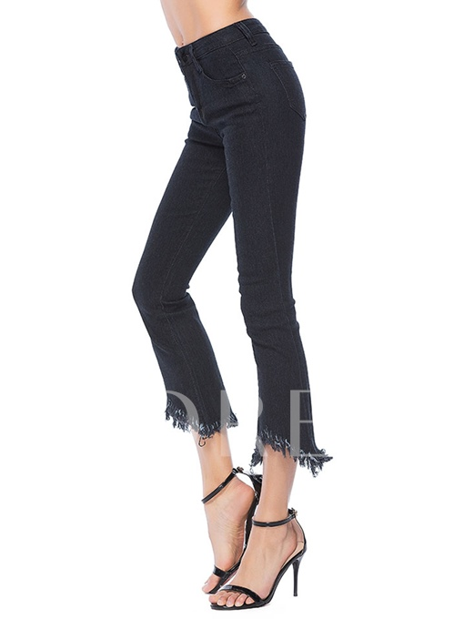 Tassel Denim Women's Bell-Bottom Trousers Jeans