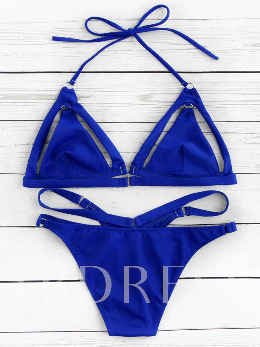 Blue Hollow Halter Bikini Set