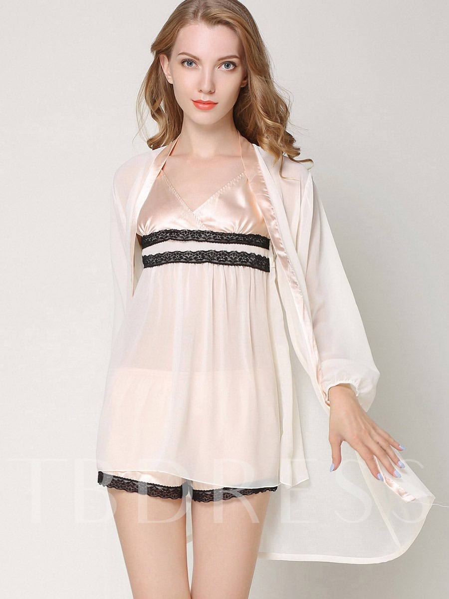 Lantern Sleeve V-Neck See-Through Short Nightgown Robe 3 Pieces