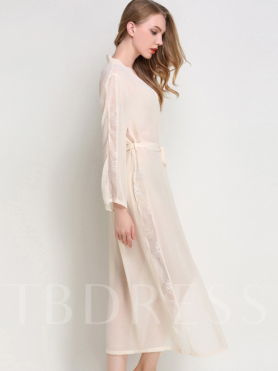 See-Through Lace Lace-Up Long Women's Night Robe