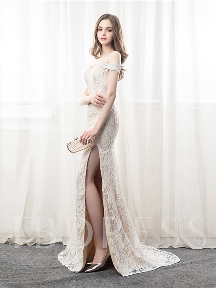 Off-the-Shoulder Lace Pick-Ups Trumpet Evening Dress