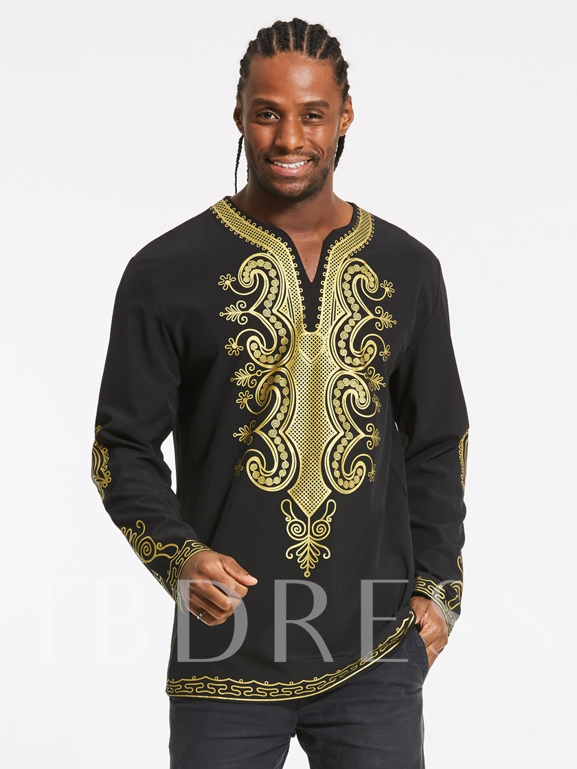 African Fashion Dashiki V-Neck Golden African Ethnic Printed Slim Fit Men's Luxury Shirt
