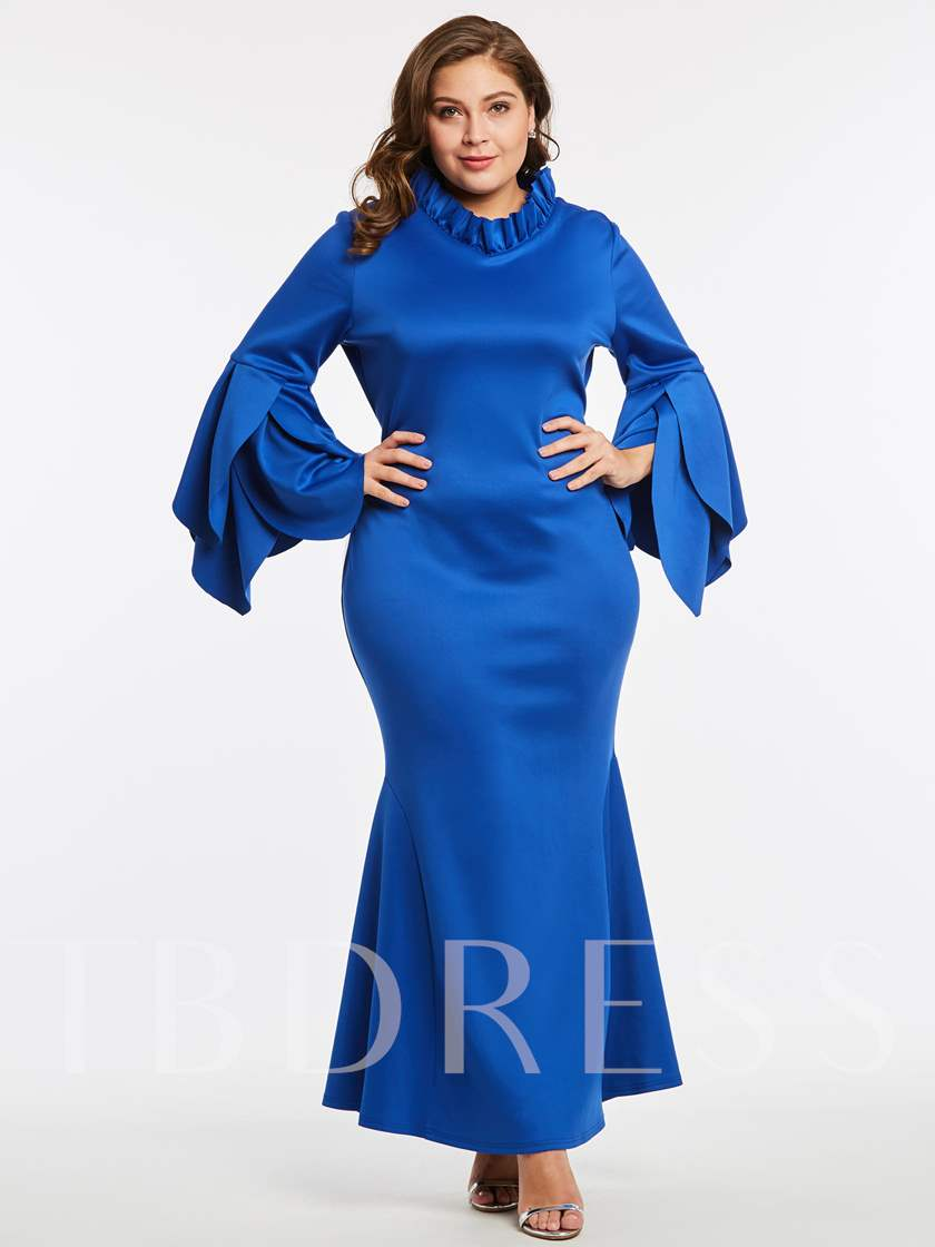 Royal Blue Bell Sleeve Plus Size Women\'s Maxi Dress ...