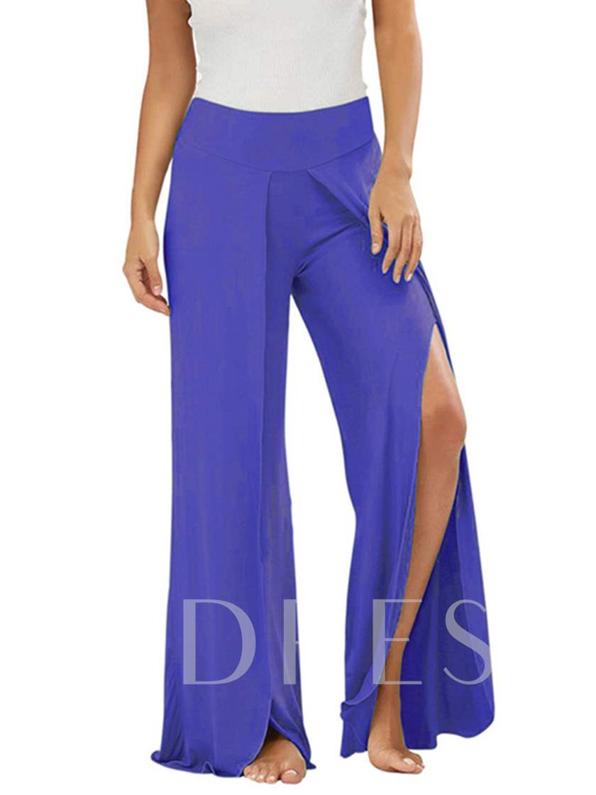 Plain Slit Wide Legs Women's Pants