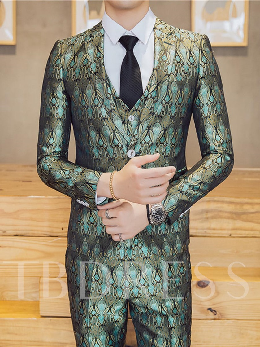 Three Piece Floral Print Slim Fit Men's Dress Suit