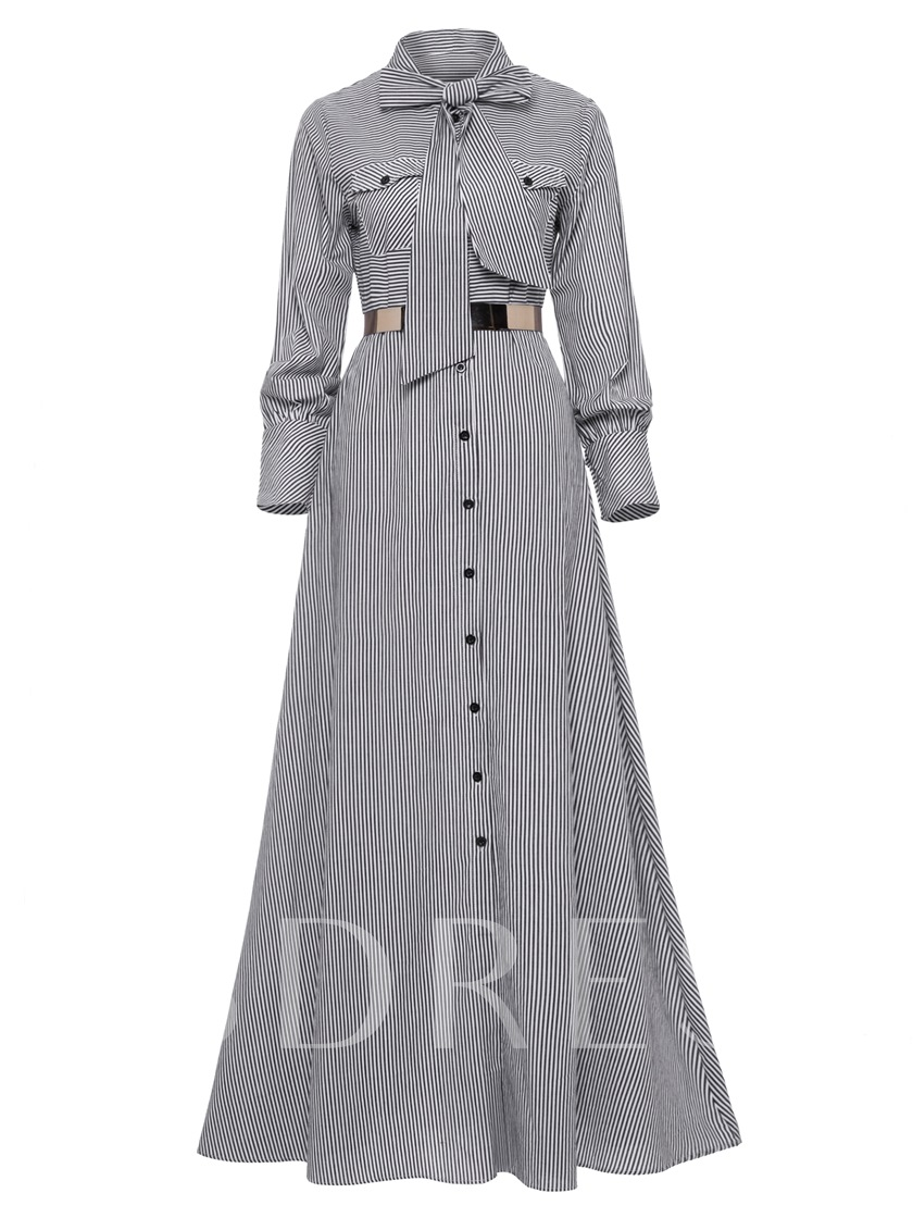 Tie-Neck Button Long Sleeve Women's Maxi Dress