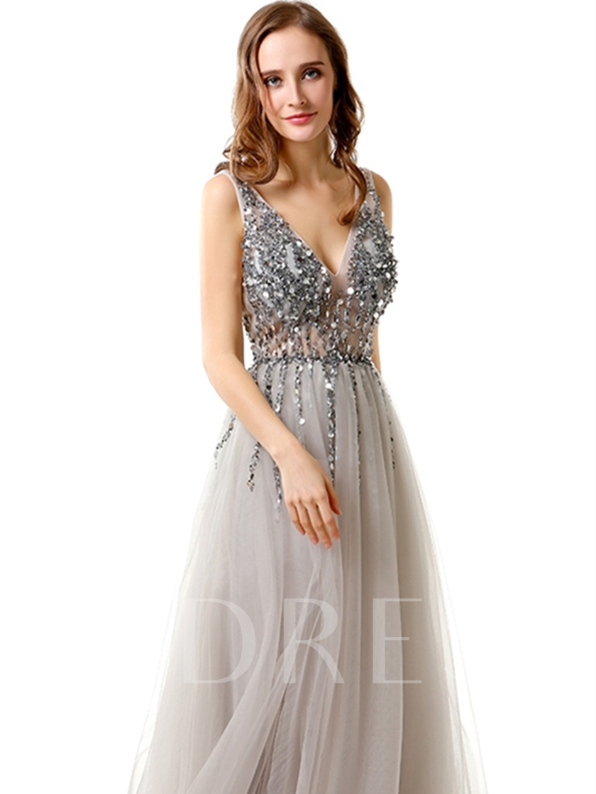 A-Line Beading Backless Evening Dress