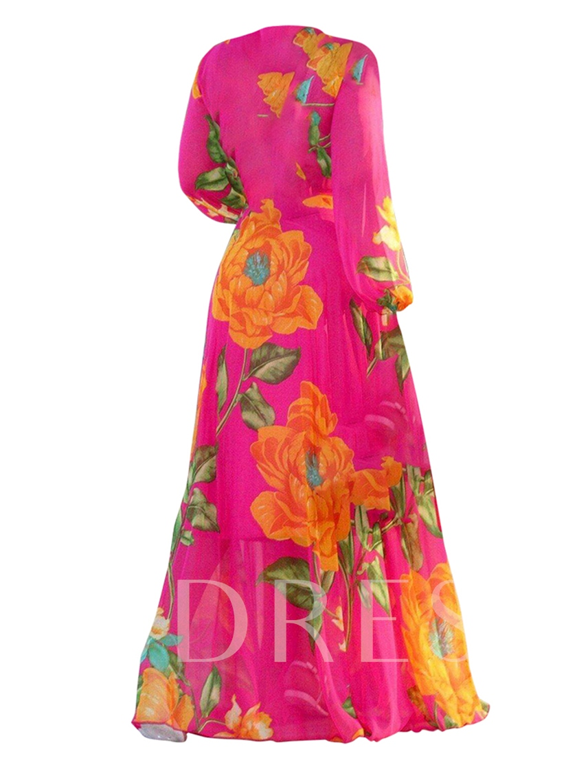 V Neck Printing High Waist Women's Maxi Dress