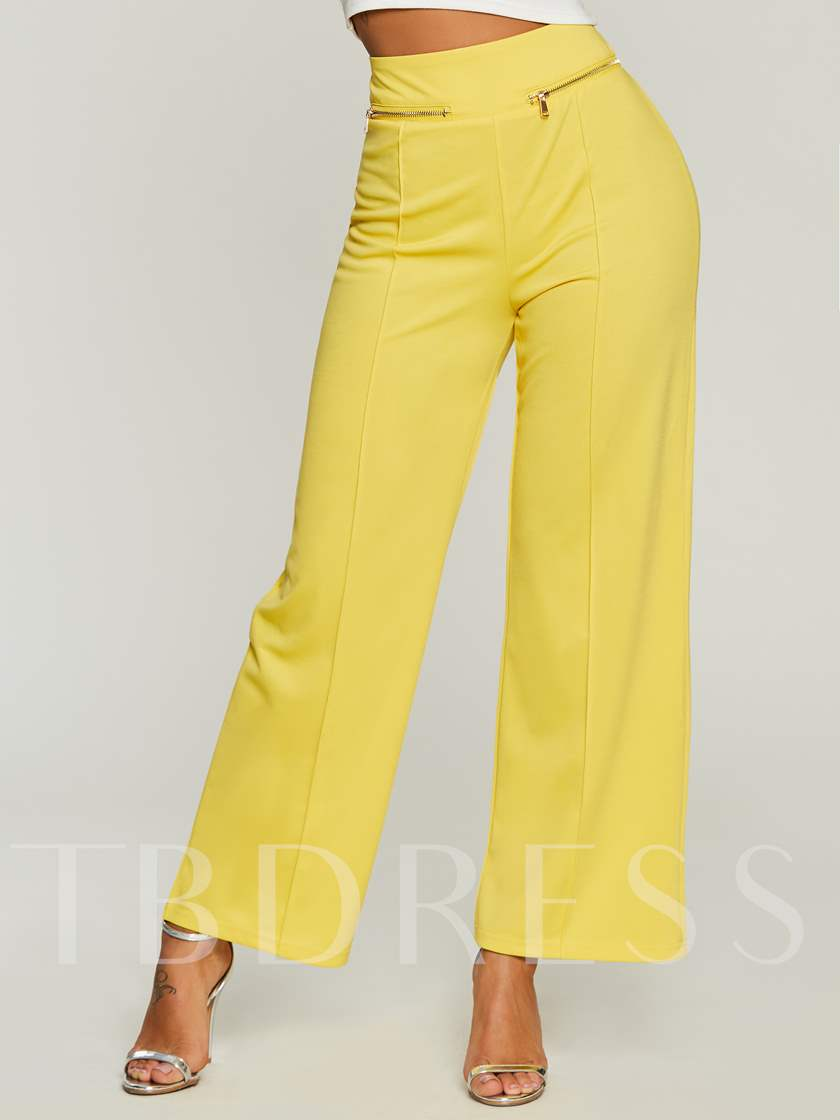 Plain High-Waist Zipper Loose Full Length Women's Pants