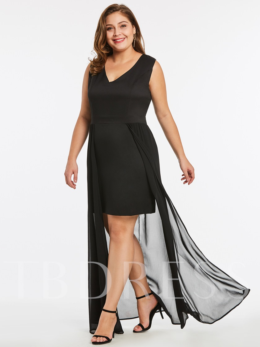 Plus Size Double-Layered Plain Women's Bodycon Dress