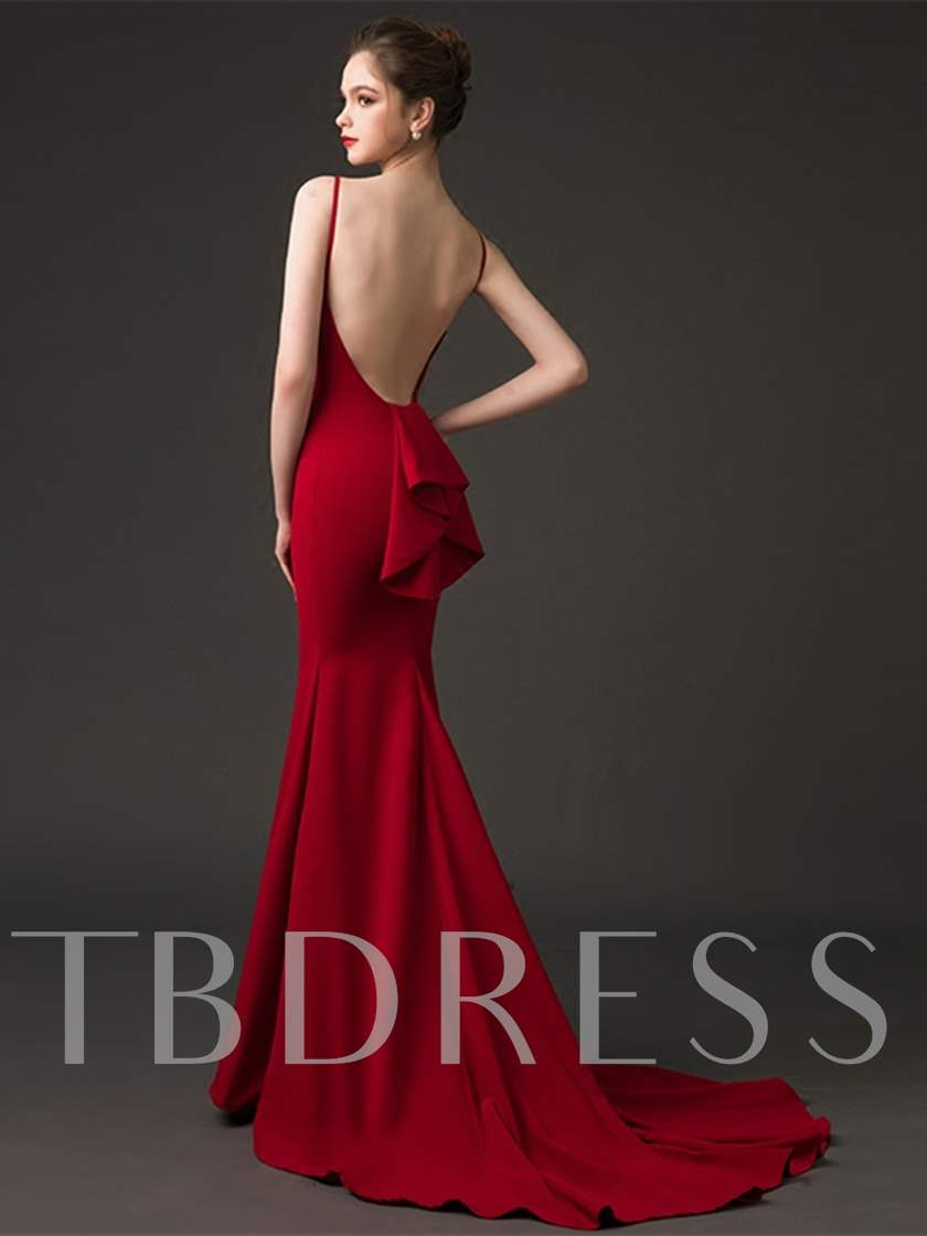 Mermaid Bateau Neck Backless Evening Dress