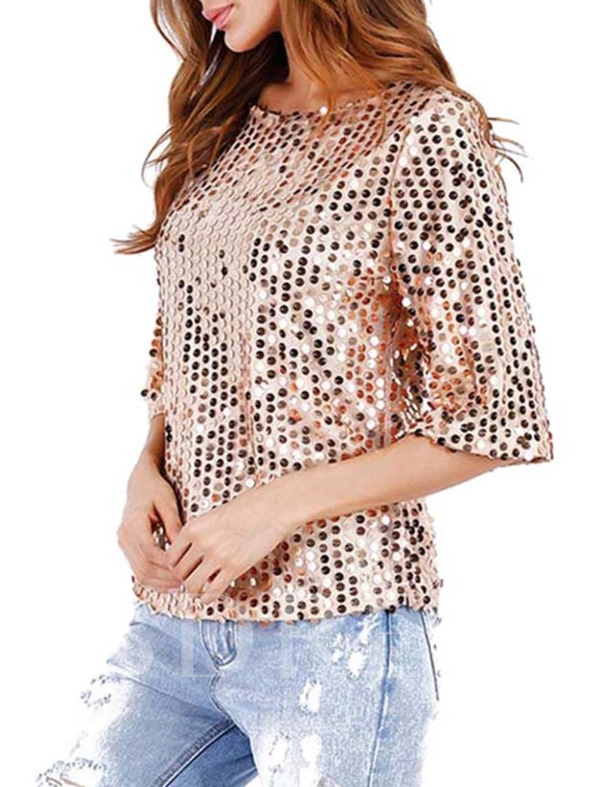 Sequins Chic Round Neck Women's T-Shirt