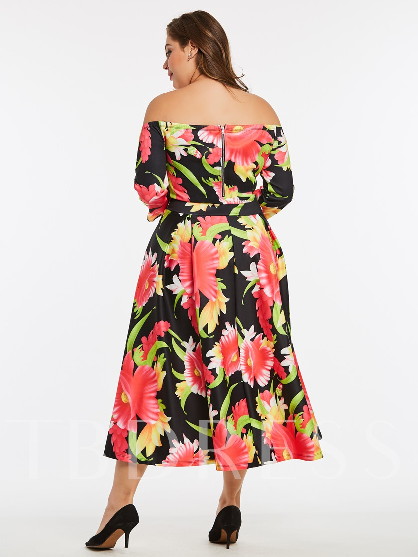Plus Size Boat Neck Plus Size Printing Women's Day Dress