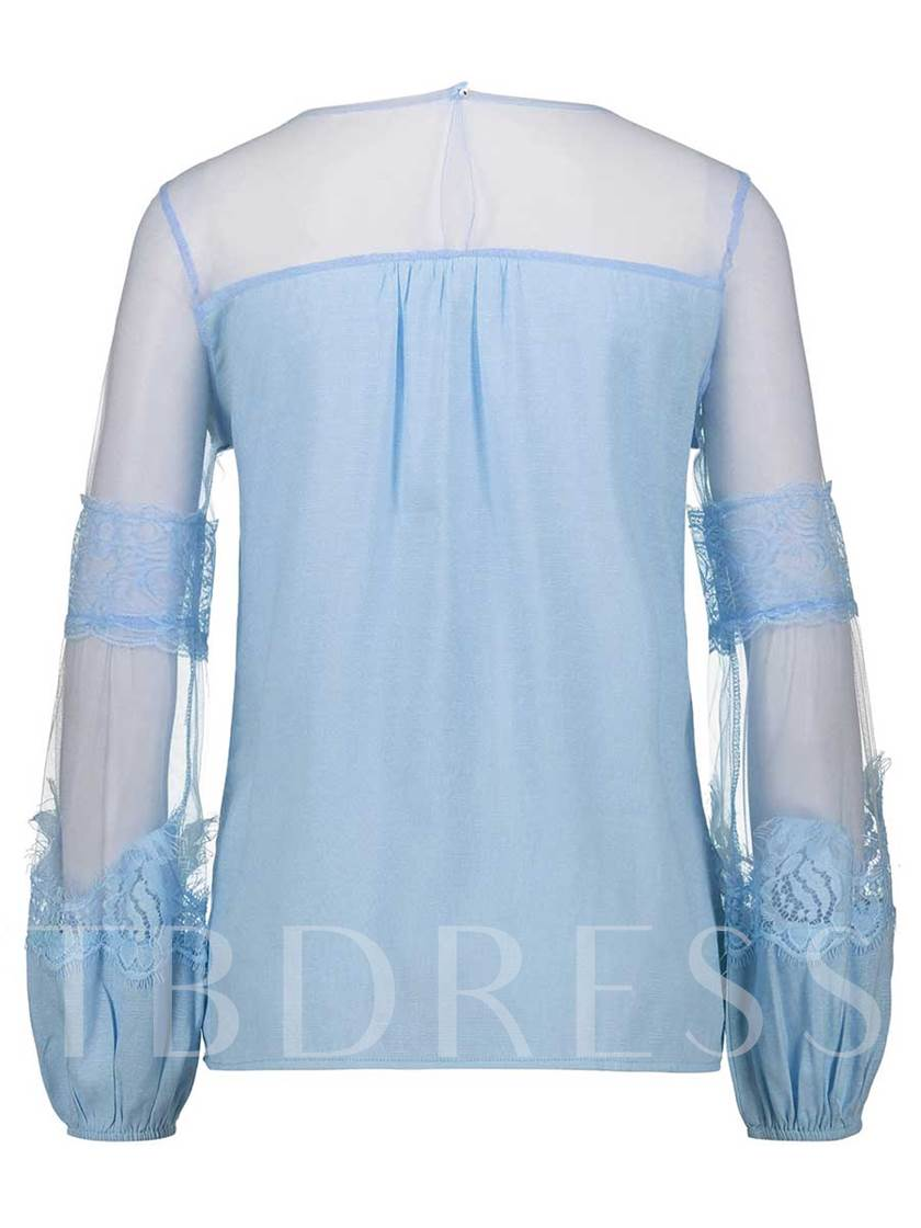 Plain Sheer Patchwork Lantern Sleeve Women's Blouse