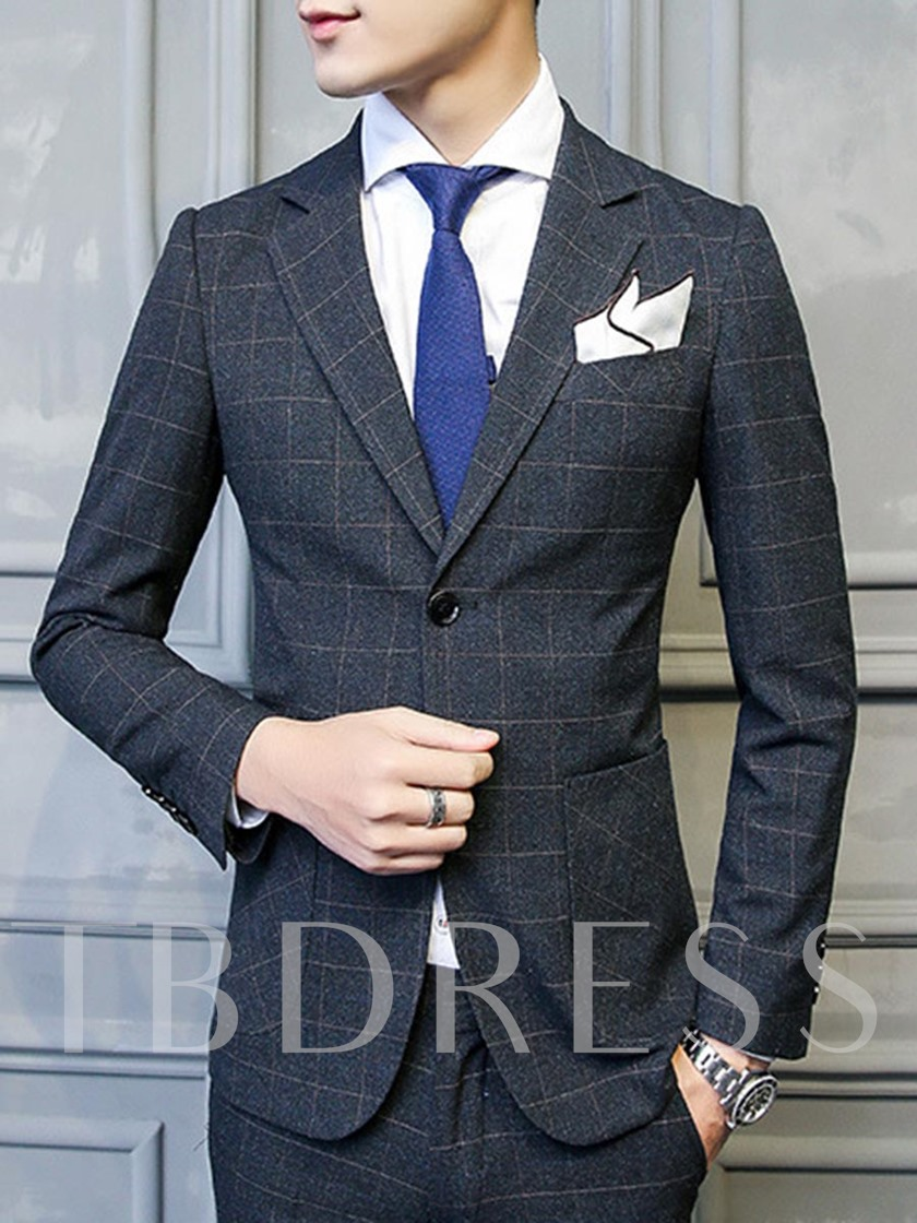 Notched Collar Plaid Slim Men's Dress Suit